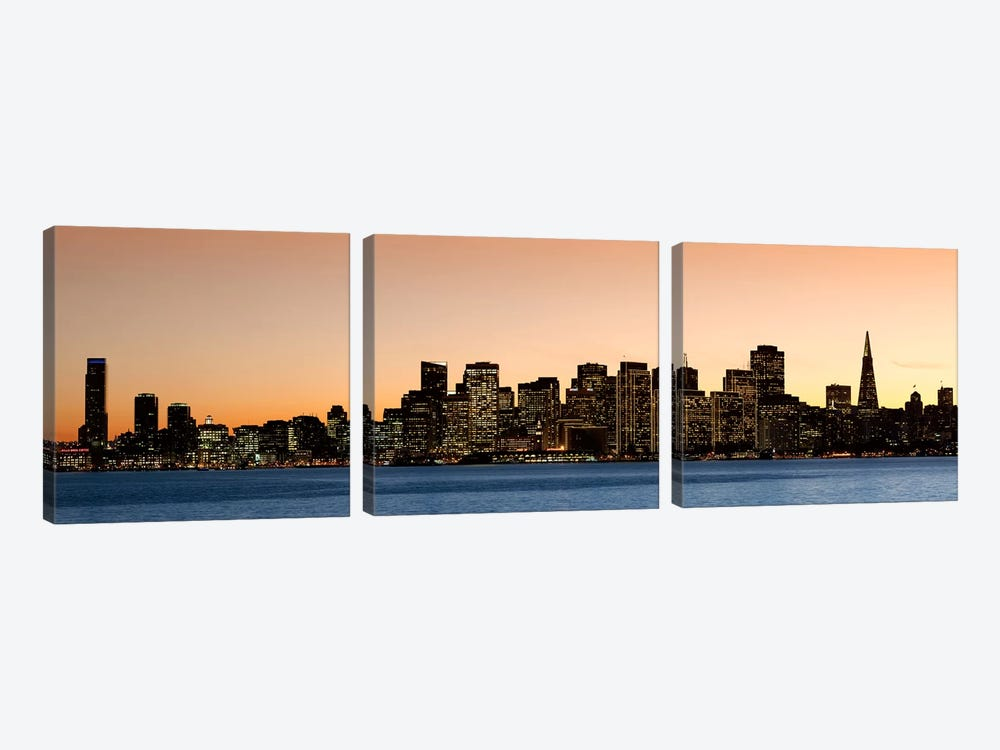 Buildings lit up at dusk, San Francisco, California, USA 2010 by Panoramic Images 3-piece Canvas Artwork