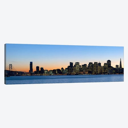 City skyline and a bridge at dusk, Bay Bridge, San Francisco, California, USA 2010 Canvas Print #PIM8095} by Panoramic Images Art Print