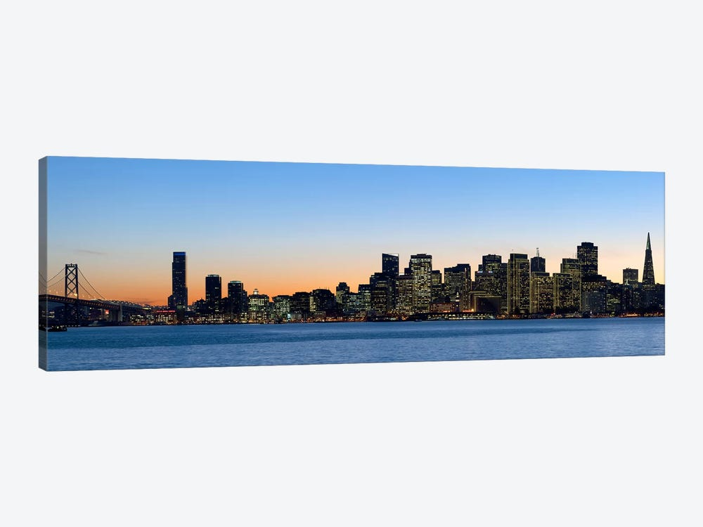 City skyline and a bridge at dusk, Bay Bridge, San Francisco, California, USA 2010 by Panoramic Images 1-piece Canvas Print