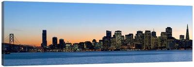City skyline and a bridge at dusk, Bay Bridge, San Francisco, California, USA 2010 Canvas Art Print