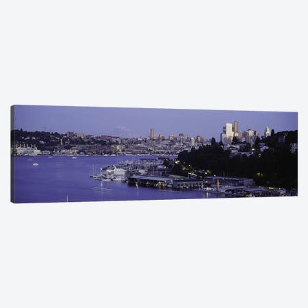 City skyline at the lakeside with Mt Rainier in the background, Lake Union, Seattle, King County, Washington State, USA Canvas Print #PIM8096} by Panoramic Images Art Print