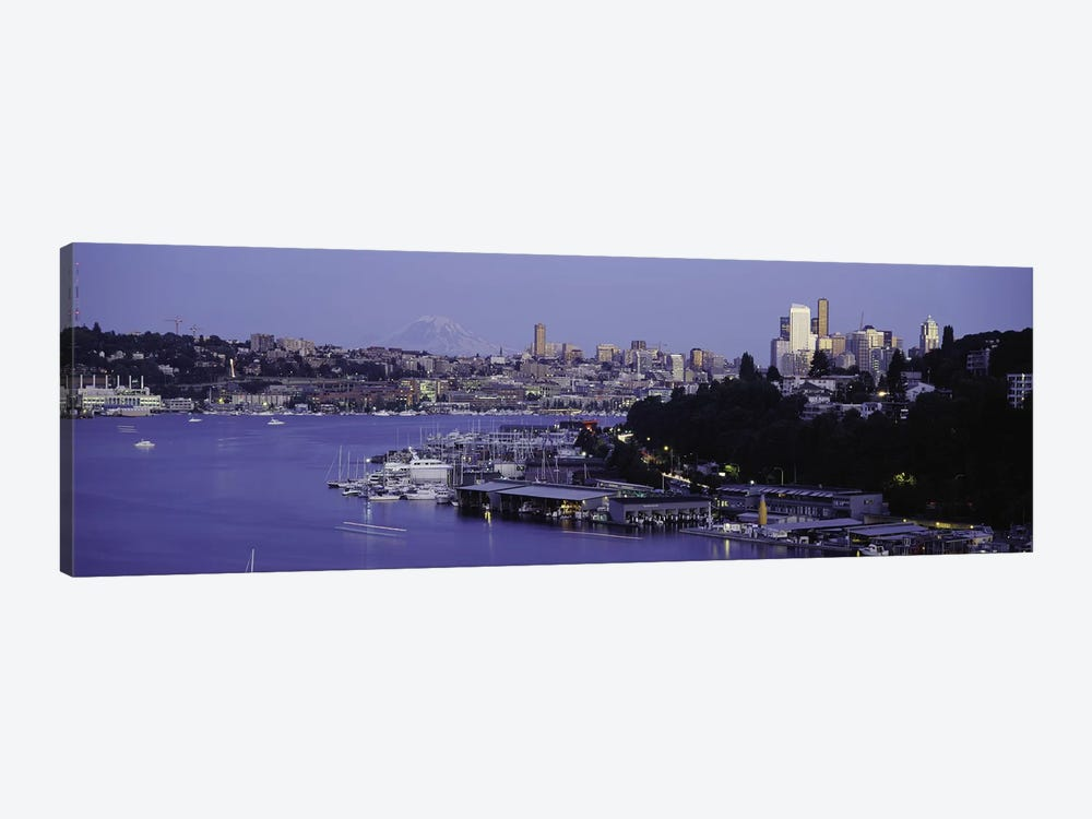 City skyline at the lakeside with Mt Rainier in the background, Lake Union, Seattle, King County, Washington State, USA by Panoramic Images 1-piece Canvas Art