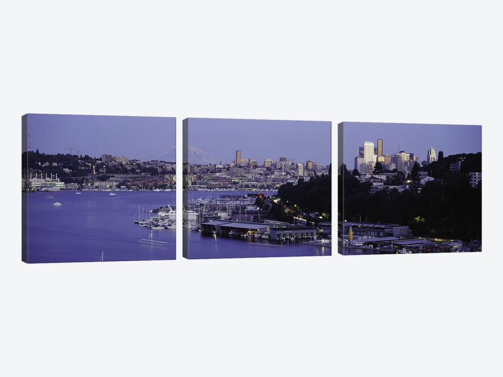 City skyline at the lakeside with Mt Rainier in the background, Lake Union, Seattle, King County, Washington State, USA by Panoramic Images 3-piece Canvas Wall Art