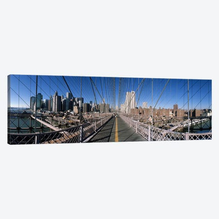 360 degree view of a bridge, Brooklyn Bridge, East River, Brooklyn, New York City, New York State, USA Canvas Print #PIM8099} by Panoramic Images Canvas Artwork