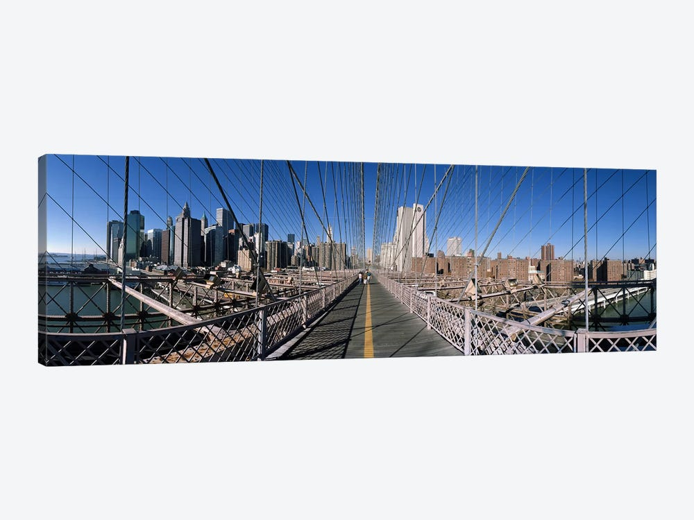360 degree view of a bridge, Brooklyn Bridge, East River, Brooklyn, New York City, New York State, USA by Panoramic Images 1-piece Canvas Print
