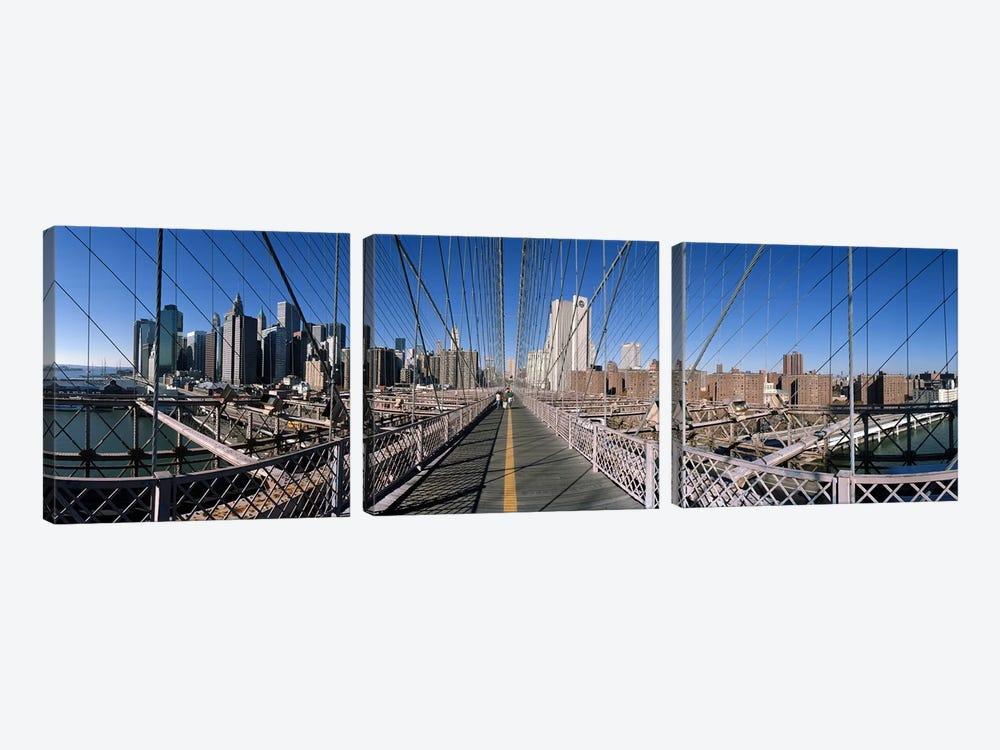 360 degree view of a bridge, Brooklyn Bridge, East River, Brooklyn, New York City, New York State, USA by Panoramic Images 3-piece Art Print