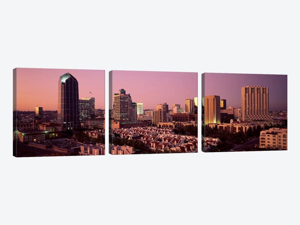 Buildings in a citySan Diego, San Diego County, California, USA by Panoramic Images 3-piece Canvas Artwork