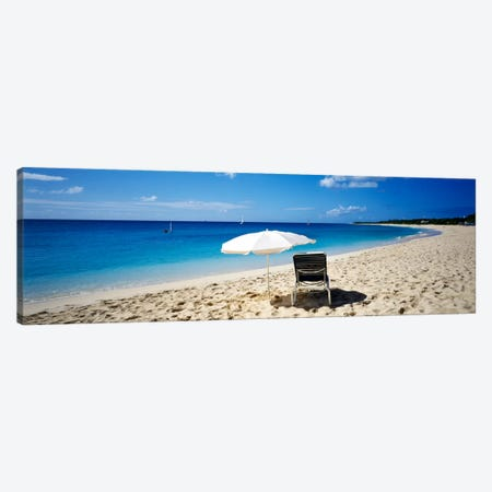 Single Beach Chair And Umbrella On Sand, Saint Martin, French West Indies Canvas Print #PIM80} by Panoramic Images Canvas Art