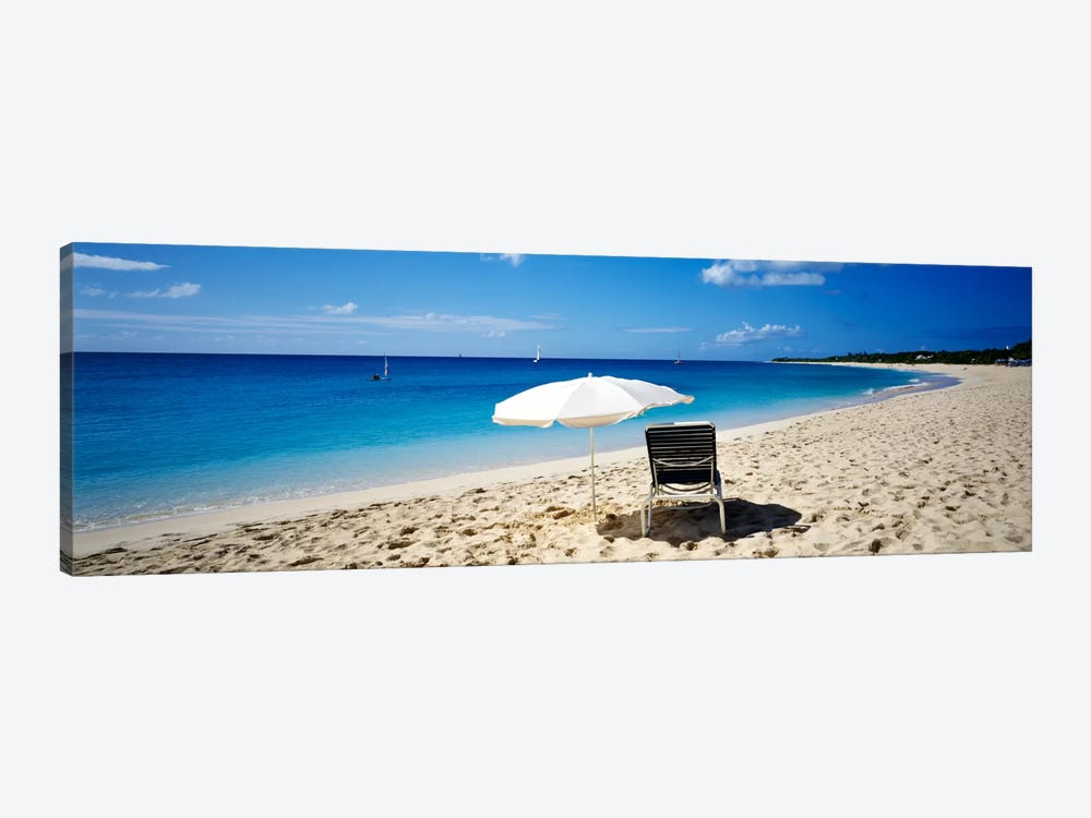 Single Beach Chair And Umbrella On Sand, Saint Martin, French West Indies by Panoramic Images 1-piece Canvas Artwork