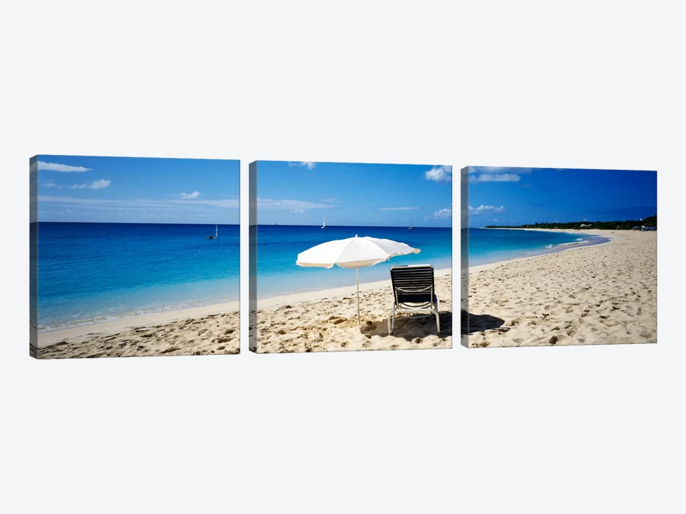 Single Beach Chair And Umbrella On Sand, Saint Martin, French West Indies by Panoramic Images 3-piece Canvas Artwork