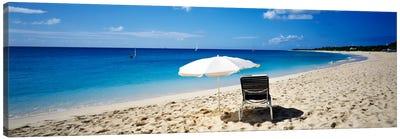 Single Beach Chair And Umbrella On Sand, Saint Martin, French West Indies Canvas Art Print