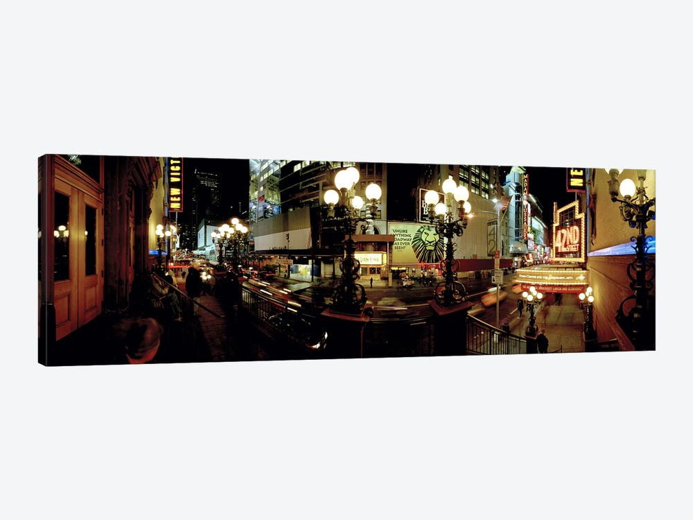 360 degree view of a city lit up at night, Broadway, Manhattan, New York City, New York State, USA by Panoramic Images 1-piece Canvas Artwork