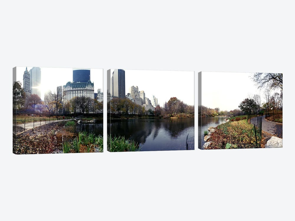Pond in a park, Central Park, Manhattan, New York City, New York State, USA #2 by Panoramic Images 3-piece Canvas Wall Art