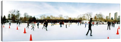 360 degree view of tourists ice skating, Wollman Rink, Central Park, Manhattan, New York City, New York State, USA Canvas Art Print