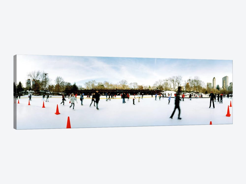 360 degree view of tourists ice skating, Wollman Rink, Central Park, Manhattan, New York City, New York State, USA by Panoramic Images 1-piece Art Print
