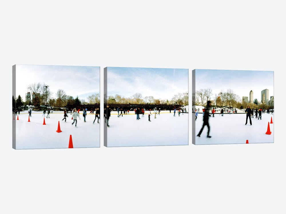360 degree view of tourists ice skating, Wollman Rink, Central Park, Manhattan, New York City, New York State, USA by Panoramic Images 3-piece Art Print