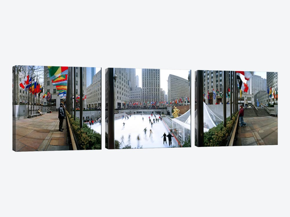 360 degree view of a city, Rockefeller Center, Manhattan, New York City, New York State, USA by Panoramic Images 3-piece Canvas Artwork
