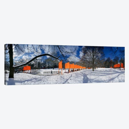 360 degree view of gates in an urban park, The Gates, Central Park, Manhattan, New York City, New York State, USA Canvas Print #PIM8110} by Panoramic Images Canvas Art Print