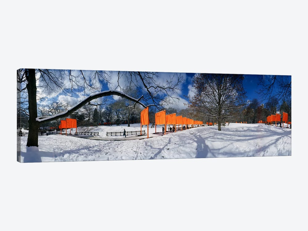 360 degree view of gates in an urban park, The Gates, Central Park, Manhattan, New York City, New York State, USA by Panoramic Images 1-piece Art Print