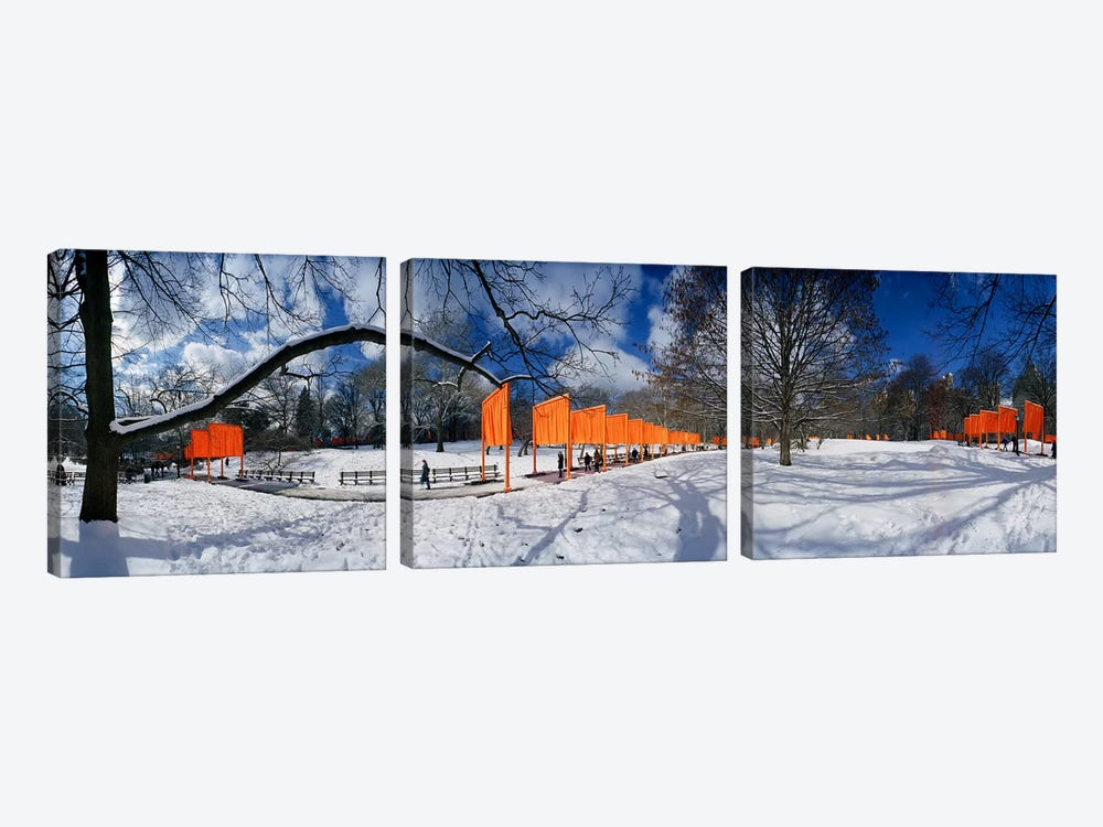 360 degree view of gates in an urban park, The Gates, Central Park, Manhattan, New York City, New York State, USA by Panoramic Images 3-piece Canvas Print