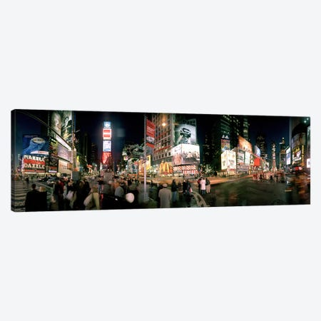 360 degree view of buildings lit up at night, Times Square, Manhattan, New York City, New York State, USA Canvas Print #PIM8111} by Panoramic Images Art Print