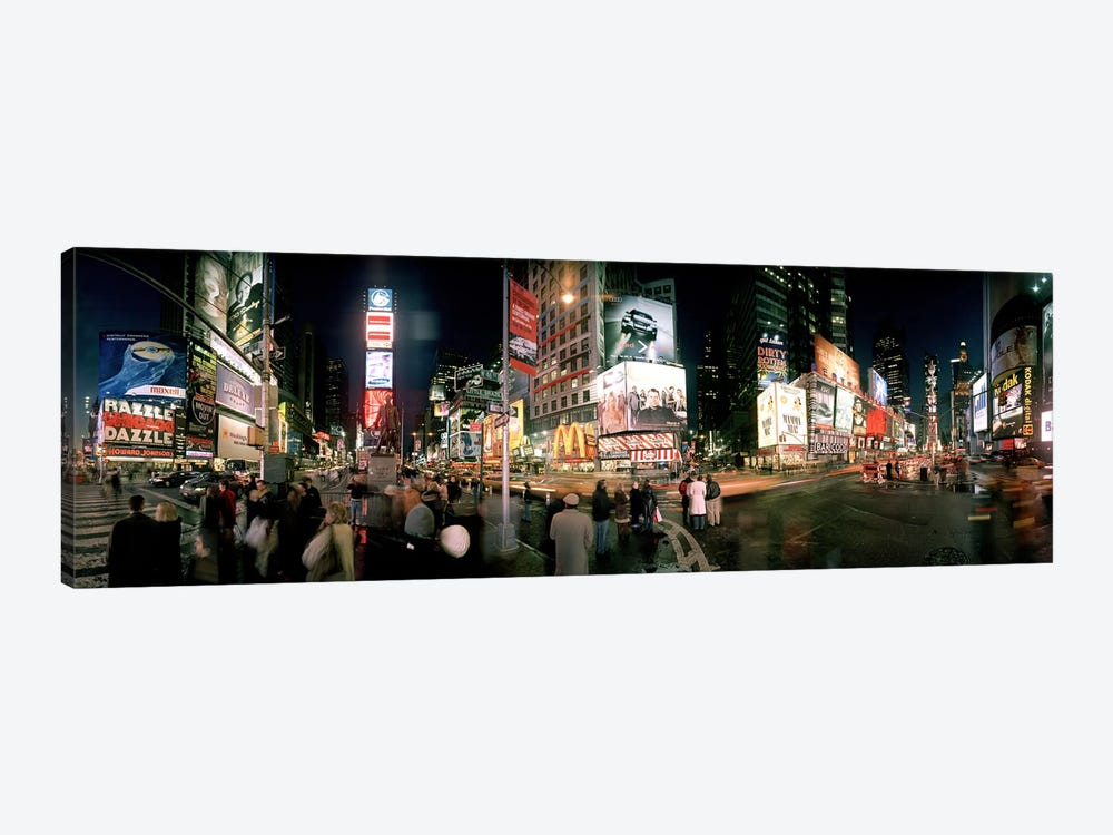 360 degree view of buildings lit up at night, Times Square, Manhattan, New York City, New York State, USA by Panoramic Images 1-piece Canvas Wall Art