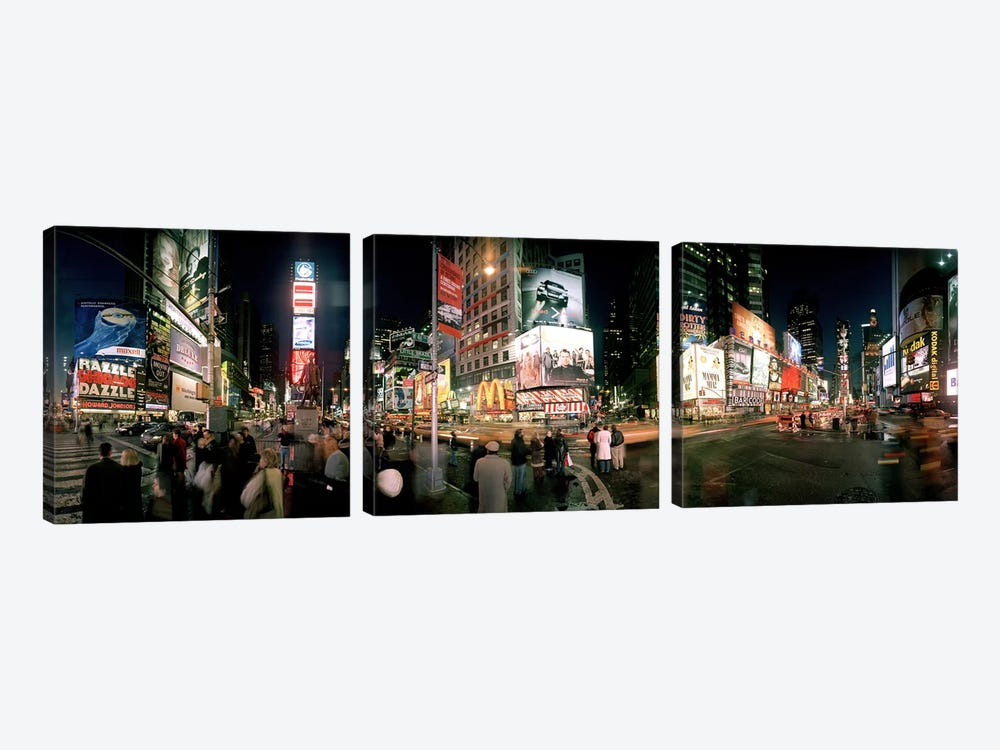 360 degree view of buildings lit up at night, Times Square, Manhattan, New York City, New York State, USA by Panoramic Images 3-piece Canvas Artwork