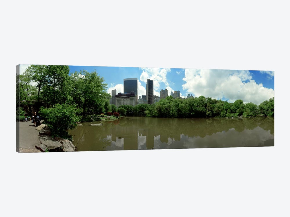 360 degree view of a pond in an urban park, Central Park, Manhattan, New York City, New York State, USA by Panoramic Images 1-piece Art Print