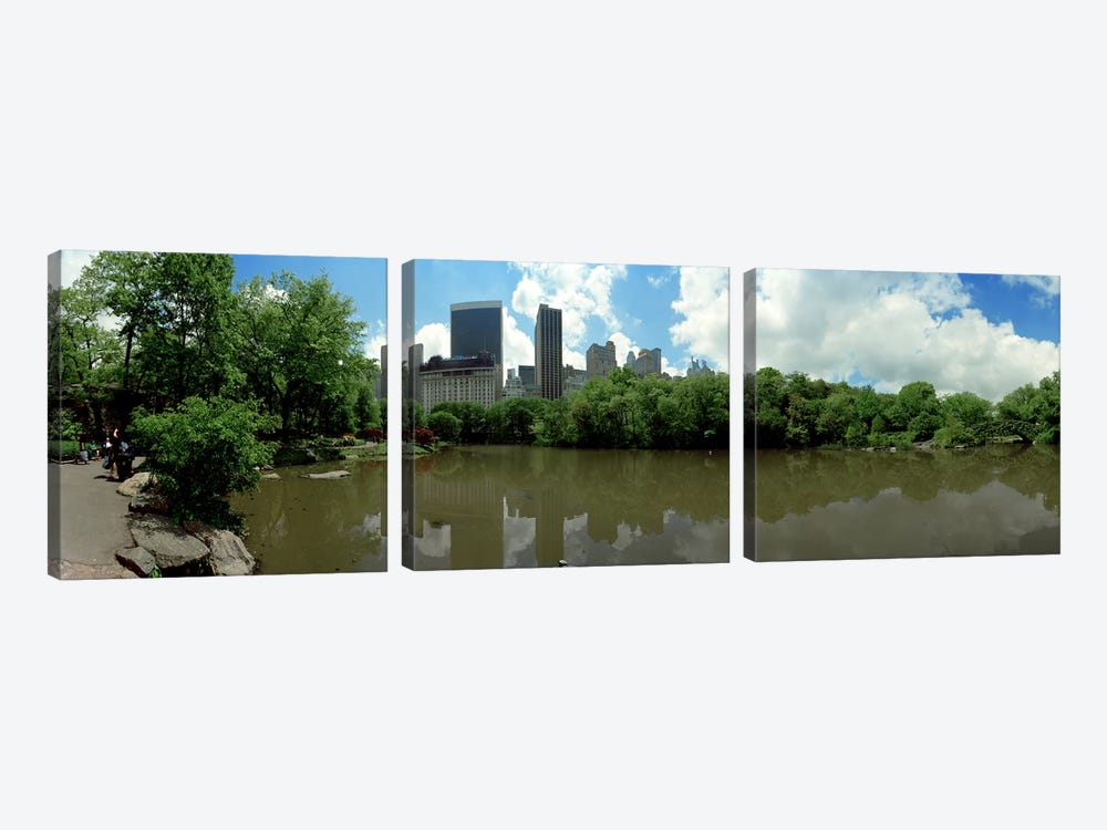 360 degree view of a pond in an urban park, Central Park, Manhattan, New York City, New York State, USA by Panoramic Images 3-piece Canvas Art Print