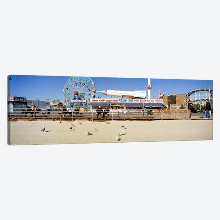Tourists at an amusement park, Coney Island, Brooklyn, New York City, New York State, USA Canvas Print #PIM8115} by Panoramic Images Canvas Artwork