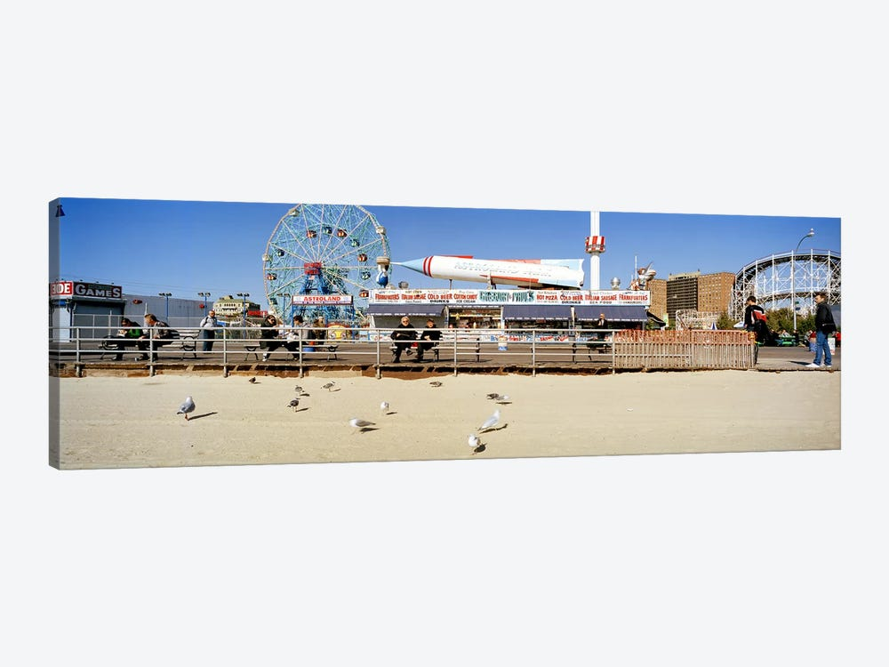 Tourists at an amusement park, Coney Island, Brooklyn, New York City, New York State, USA by Panoramic Images 1-piece Canvas Wall Art
