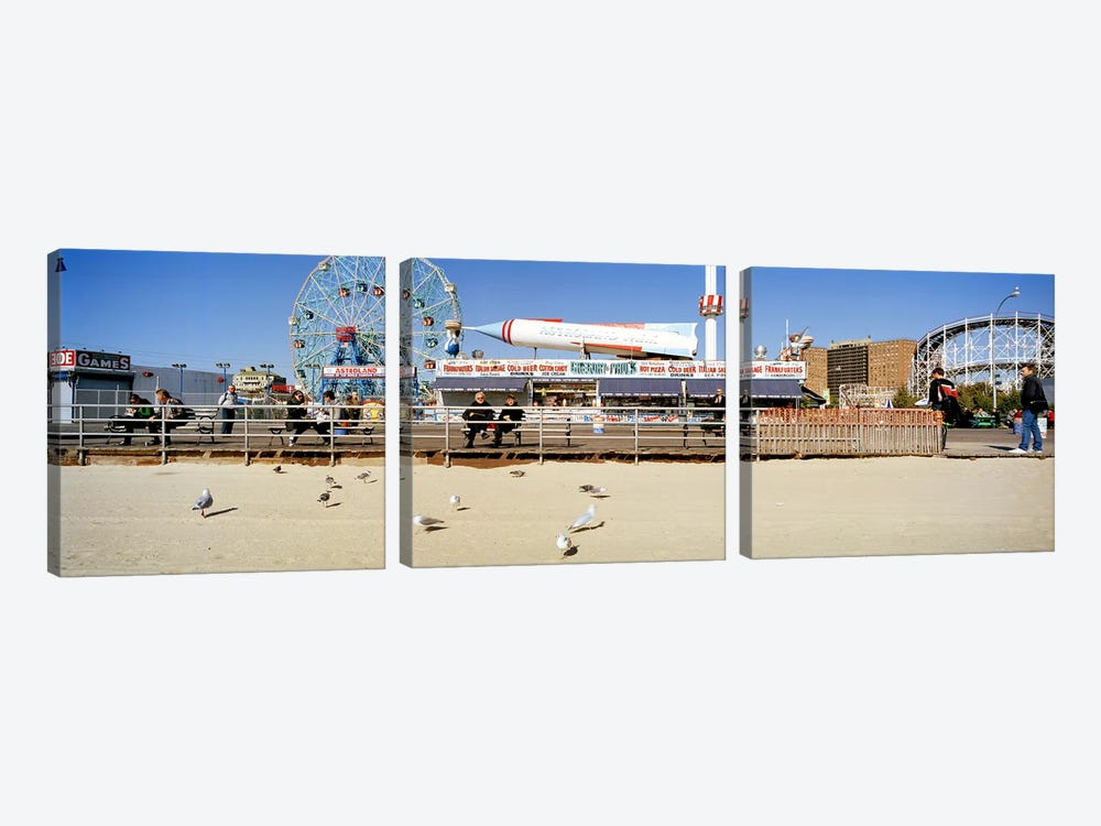 Tourists at an amusement park, Coney Island, Brooklyn, New York City, New York State, USA by Panoramic Images 3-piece Canvas Wall Art