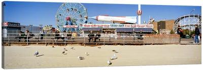 Tourists at an amusement park, Coney Island, Brooklyn, New York City, New York State, USA Canvas Art Print