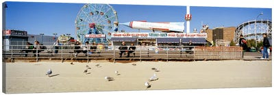 Tourists at an amusement park, Coney Island, Brooklyn, New York City, New York State, USA Canvas Art Print