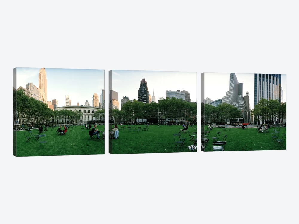360 degree view of a public park, Bryant Park, Manhattan, New York City, New York State, USA by Panoramic Images 3-piece Canvas Art Print