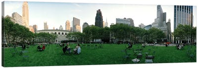 360 degree view of a public park, Bryant Park, Manhattan, New York City, New York State, USA Canvas Art Print