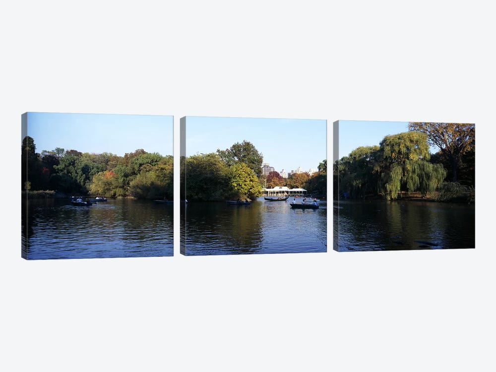 Lake in a park, Central Park, Manhattan, New York City, New York State, USA by Panoramic Images 3-piece Canvas Art