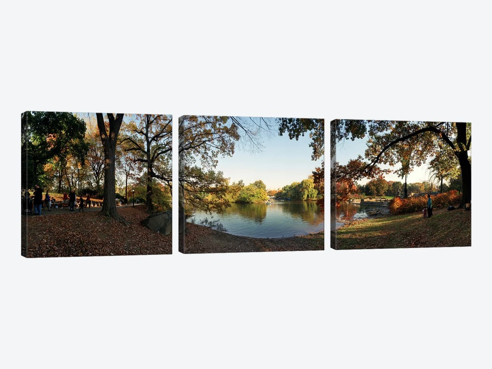 360 degree view of an urban park, Central Park, Manhattan, New York City, New York State, USA #2 by Panoramic Images 3-piece Art Print