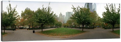 360 degree view of a public park, Battery Park, Manhattan, New York City, New York State, USA Canvas Art Print