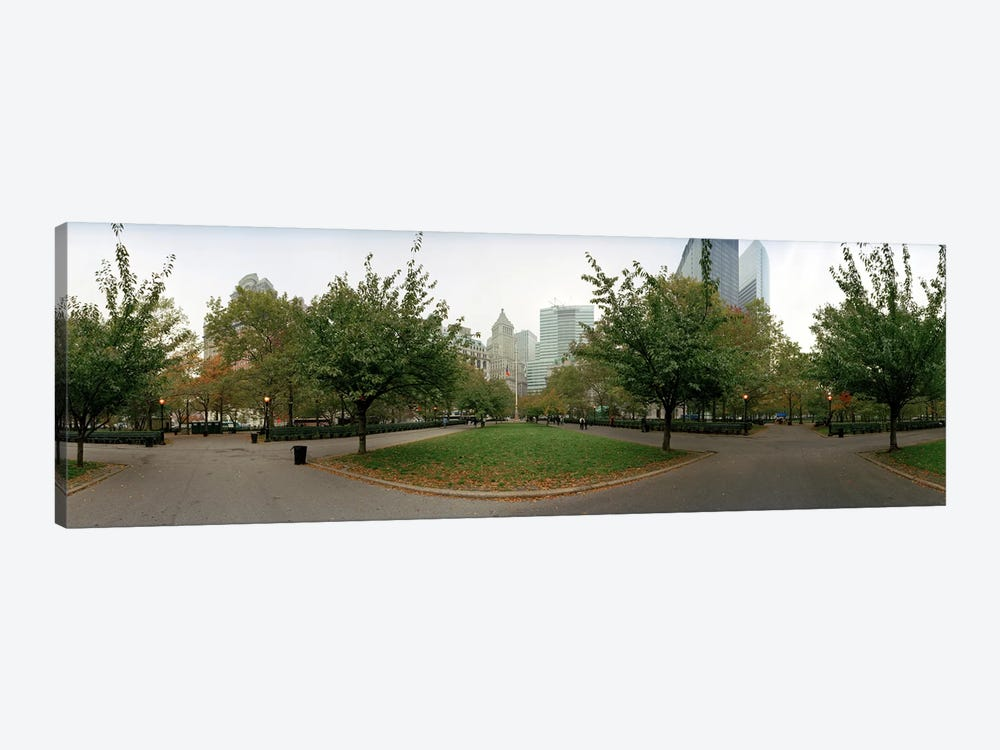 360 degree view of a public park, Battery Park, Manhattan, New York City, New York State, USA by Panoramic Images 1-piece Canvas Art