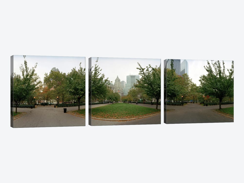 360 degree view of a public park, Battery Park, Manhattan, New York City, New York State, USA by Panoramic Images 3-piece Canvas Wall Art