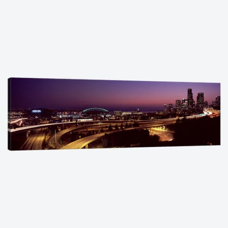City lit up at night, Seattle, King County, Washington State, USA 2010 Canvas Print #PIM8124} by Panoramic Images Art Print