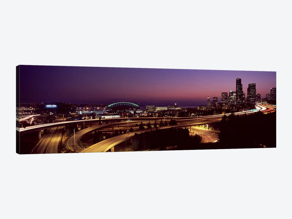 City lit up at night, Seattle, King County, Washington State, USA 2010 by Panoramic Images 1-piece Canvas Artwork