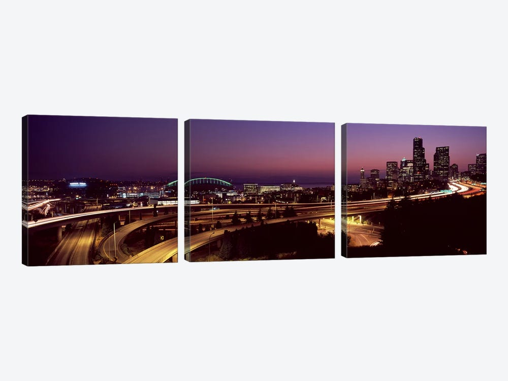 City lit up at night, Seattle, King County, Washington State, USA 2010 by Panoramic Images 3-piece Canvas Wall Art