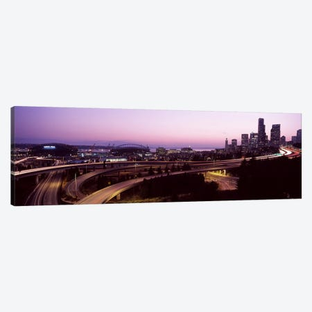 City lit up at dusk, Seattle, King County, Washington State, USA 2010 Canvas Print #PIM8125} by Panoramic Images Art Print