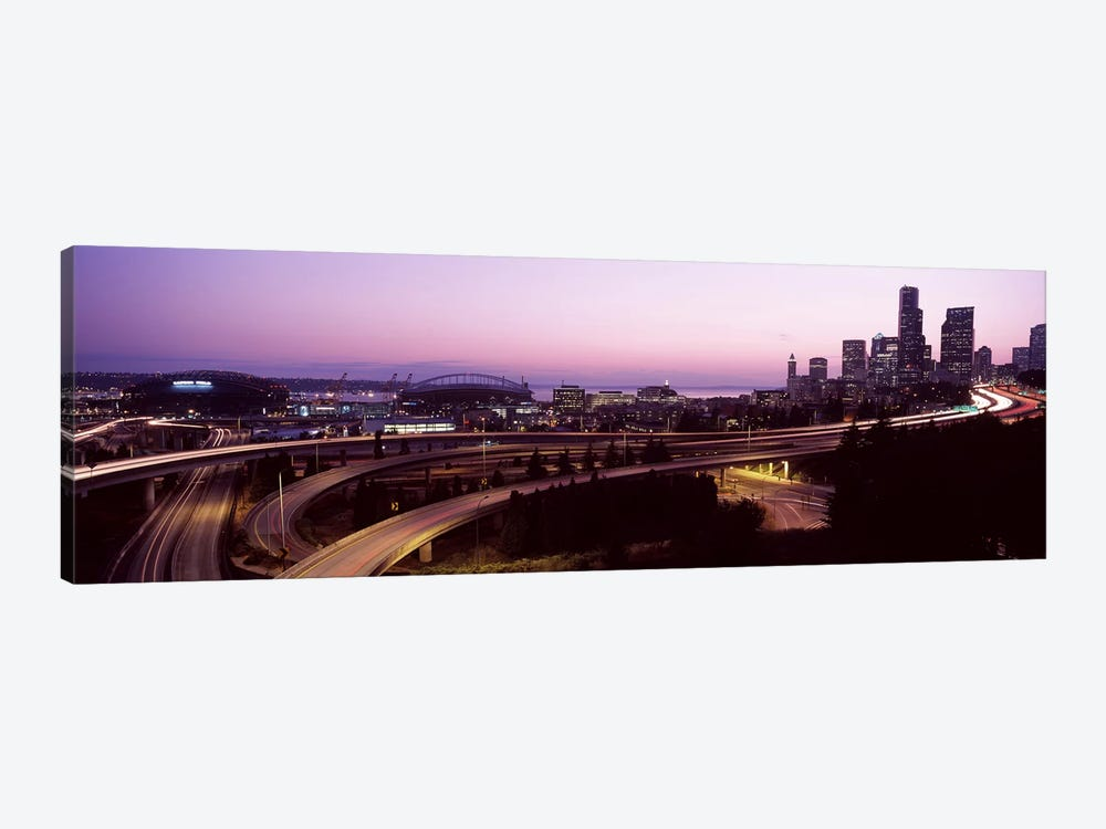 City lit up at dusk, Seattle, King County, Washington State, USA 2010 by Panoramic Images 1-piece Canvas Art Print