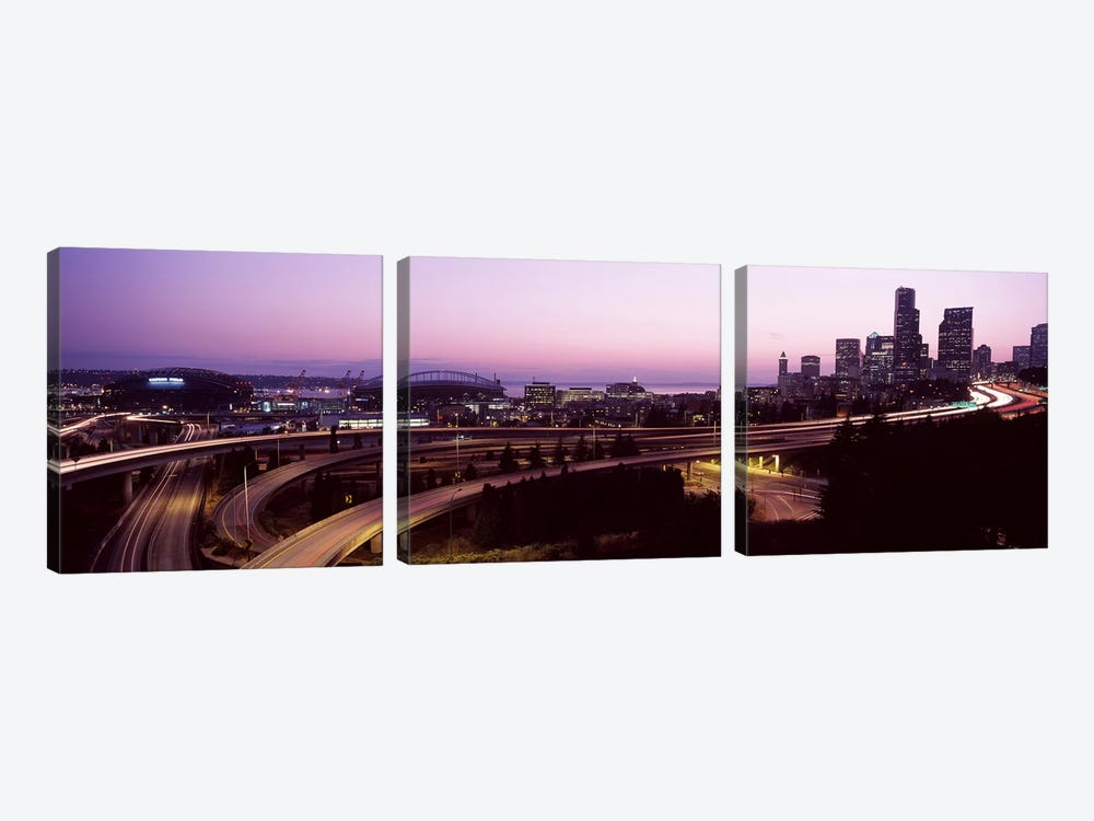 City lit up at dusk, Seattle, King County, Washington State, USA 2010 by Panoramic Images 3-piece Canvas Print