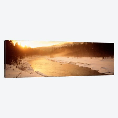 Stream Flowing Through A Snowy Forest Landscape, British Columbia, Canada Canvas Print #PIM813} by Panoramic Images Art Print
