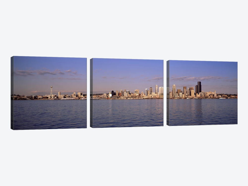 City viewed from Alki Beach, Seattle, King County, Washington State, USA 2010 by Panoramic Images 3-piece Canvas Art Print