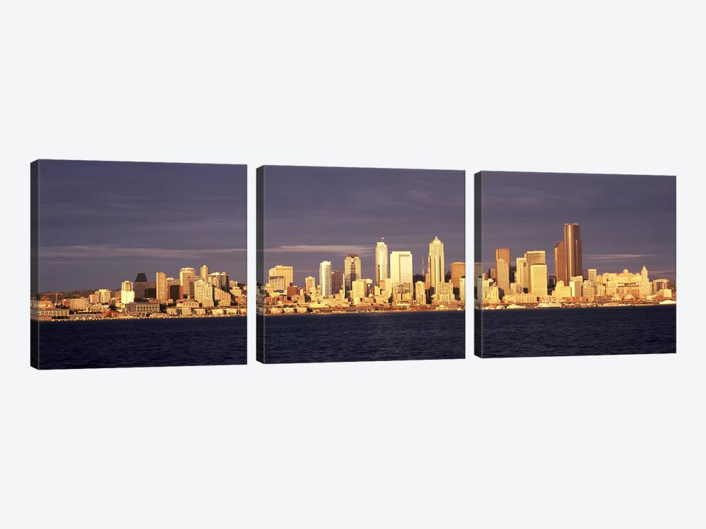 City viewed from Alki Beach, Seattle, King County, Washington State, USA 2010 #2 by Panoramic Images 3-piece Canvas Wall Art